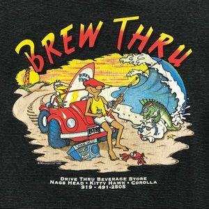 Vintage | 90s Brew Thru Crewneck Single Stitch Tee